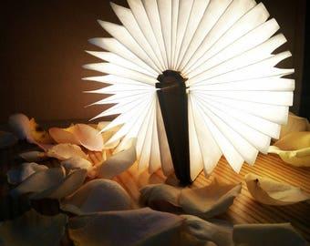 Wooden Book Shape Desk Lamp wall led night light home decor usb li-po