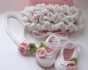 Ruffles & Roses ballet slippers and diaper cover set