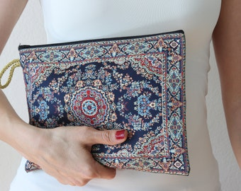Turkish Woven Pouch with Zipper, Ethnic Boho Bag, Large Pouch