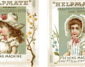 Set of 2 Vintage Advertising Trade Cards Helpmate Sewing Machine, New York