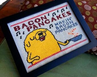 Bacon Pancakes Makin' Bacon Pancakes- Jake the dog Adventure time digital art cross stitch pattern 6x8 inch includes DMC colors DIY