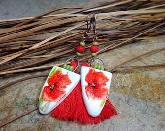Bucolic/Bohemian earrings, handcrafted ceramic, beads, cinnabar, red tassels, poppies, spring dangle earrings, gift.