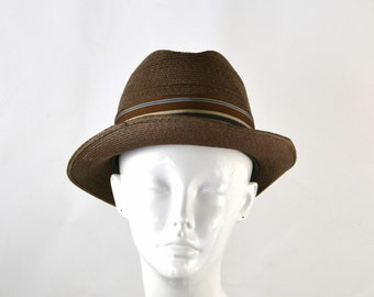 1960s Mens Chocolate Brown/Oak Straw Fedora by Dobbs Fifth Avenue, Hipster, Retro, Size 7 1/8