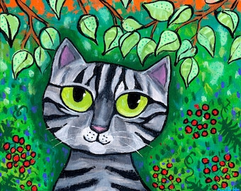 Grey Tabby Cat with big Green eyes print  Shelagh Duffett