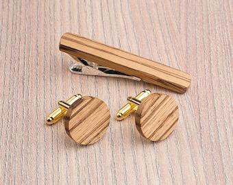 Wooden tie Clip Cufflinks Set Wedding Zebrano Round Cufflinks. Wood Tie Clip Cufflinks Set. Personalization gift, boyfriend, father day gift