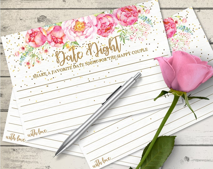 """Date Night Cards - Date Night Ideas, Date Idea cards, Wedding Advice Cards 4""""X6"""" Cards   Editable Text INSTANT Download PDF Printable"""