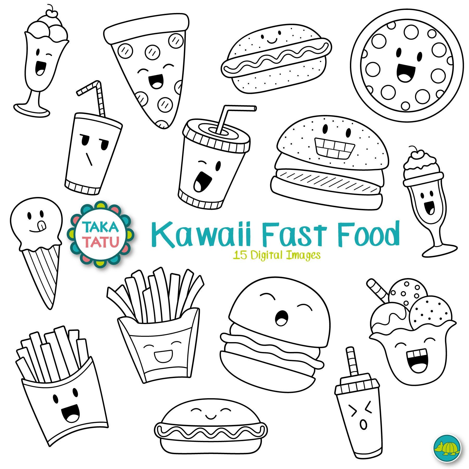 kawaii fast food digital stamp fast food clipart  cute fast