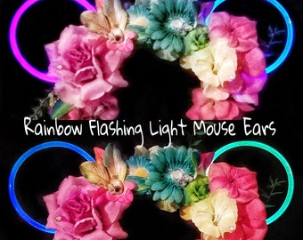 Pre-order Light-Up Rainbow Flower Crown Mouse Ears Tropical Floral Tie dye Reversible LED Paint the Night Pixar Fest inspired