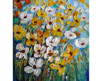 White Yellow Daisies Flowers Original Painting Oil Impasto on Canvas Art by Luiza Vizoli