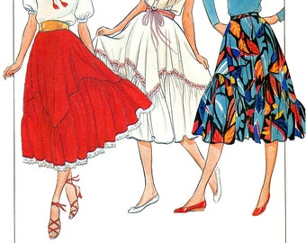 Butterick 4212 Vintage 1980s flared, ruffle-hemmed skirts uncut sewing pattern