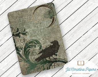 Gothic Raven Under Crescent Moon - Travelers Notebook Laminated Dashboard - CHOOSE B6, Personal, A6, or Pocket/Field Notes Size
