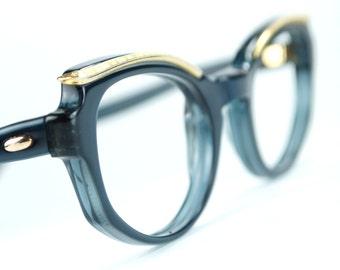Sapphire Blue Cat Eye Glasses Frames with Golden Browline  Metalwork  NOS Vintage 1960s