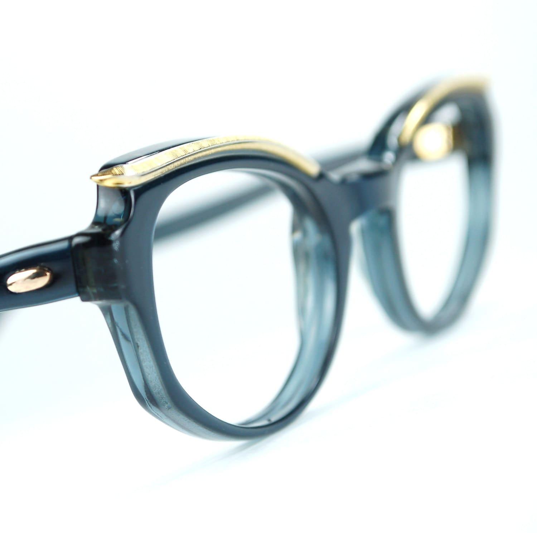 Saphir Blau Cat Eye Brille Rahmen mit goldenen Browline