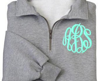 Monogrammed QUARTER ZIP Sweatshirt  Pullover by Mad About Monograms - 4 Colors