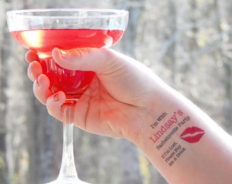 15 Bachelorette Tattoos - Bachelorette Party Temporary Tattoos - PINK LIPS - FREE Matching Bride Tattoo - If I'm Lost, Please Buy Me A Drink