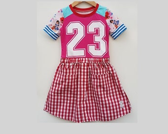 Size 6 upcycled girls shirt dress, girls clothing, upcycled ,kidsclothes, kidswear, girl, number, girls dress, upcycling, pink