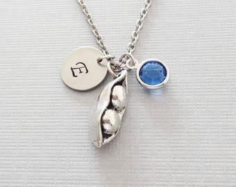 Two Peas In A Pod Necklace, Mom Necklace, Mother Gift, Swarovski Birthstone, Silver Initial, Personalized Monogram, Hand Stamped Letter