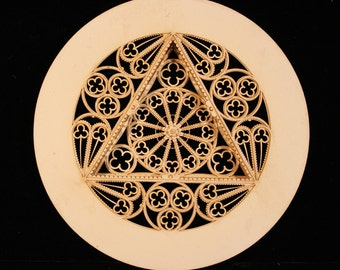 Harpsichord Rose, Parchment Rose, laser cut, paper, intricate, for early music instruments