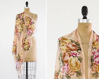 vintage rose scarf | pink chiffon scarf | large floral scarf