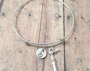Otoscope initial bangle - otoscope jewelry, audiologist jewelry, nurse bangle, audiologist gift, medical jewelry, silver otoscope pendant