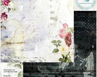 ON SALE Blue Fern Studios Tattered Walls Suite 204 12x12 Scrapbook Paper, 2 pcs