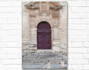 Paris Photograph on Canvas - Purple Door and Steps on  Paris Architecture,  Gallery Wrapped Canvas, French Home Decor, Large Wall Art