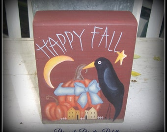 Primitive Crow Pumpkin Fall Autumn Wood Shelf Sitter Block Home Decor