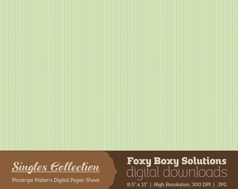 Instant Download Green Pinstripe Printable Digital Paper for Scrapbooking - Digital Download Supply - Rustic Shabby Chic Digital Background