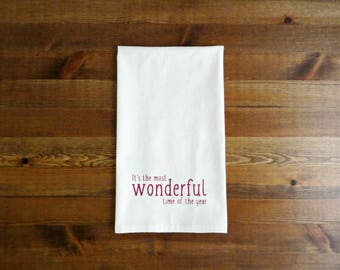 It's The Most Wonderful Time Of The Year Decorative Kitchen Towels - Unbleached Cotton Muslin