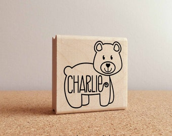 Personalized Custom Bear Rubber Stamp, Custom Bear Name Stamp for Kids