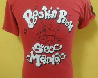 Rare!!Vintage Seditionaries Rockin Roll Sex Maniac By Chaos Corporation t-shirt Punk/90's/ Punk rock / 1pTeUtD37