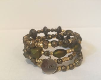 Green and Brownish Love Wrap Bracelet