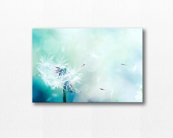 dandelion canvas print dandelion wall art canvas photography print large canvas art dandelion decor nursery print aqua pastel teal blue