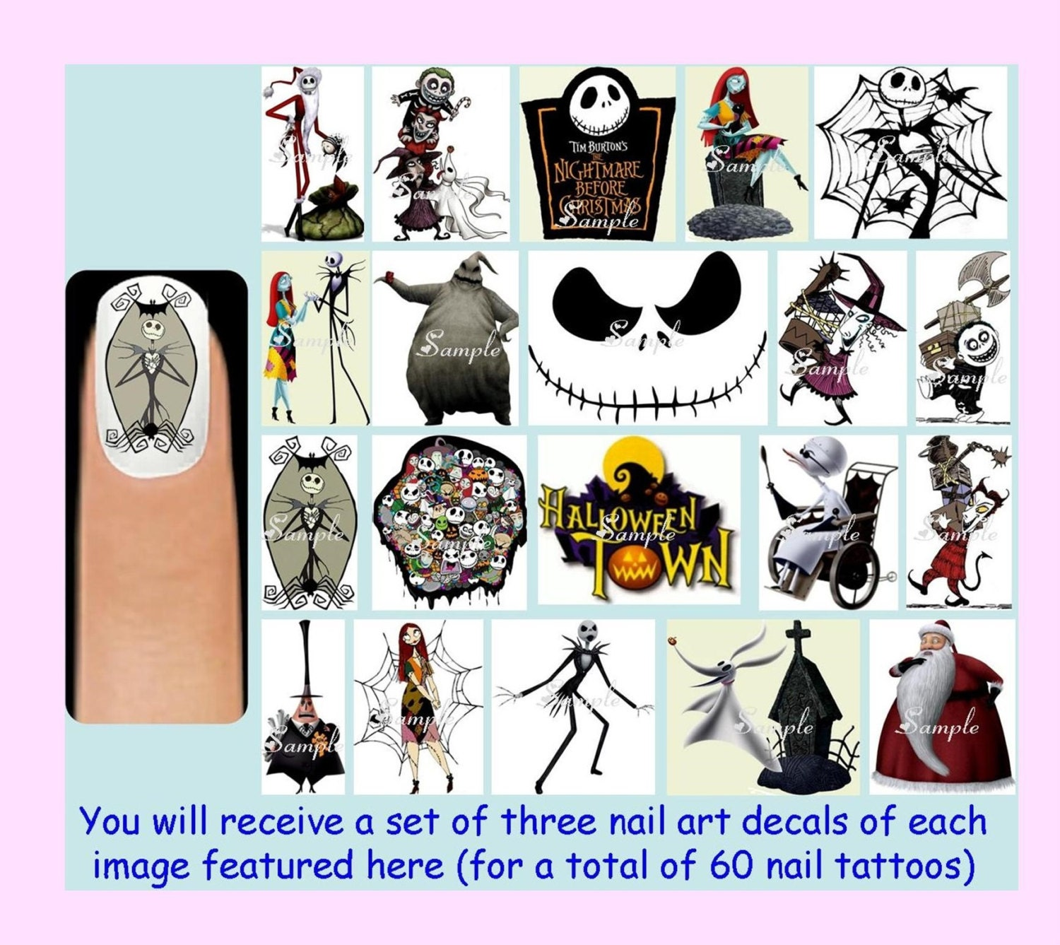 60 x The NIGHTMARE BEFORE CHRISTMAS Nail Art Decals Free