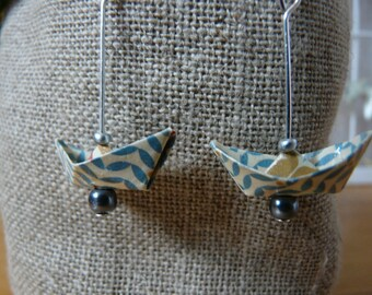Origami earrings blue and white pattern paper boats vintage