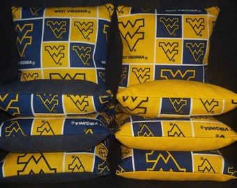 Set Of 8 West Virginia University NC State Cornhole Bean Bags Top Quality FREE SHIPPING
