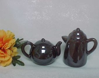 Vintage Ceramic Redware Salt and Pepper Shakers, Brown Lustreware Finish Coffee Pot and Teapot Shakers, Collectible 1960s Japan Shakers
