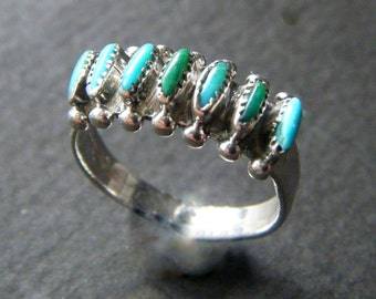 Unique Blue Turquoise Ring Vintage Sterling Silver TURQUOISE Ring Silver Authentic Turquoise Real Turquoise Ring Small Ring Band Boho Rings