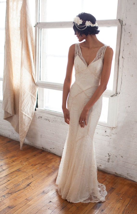 Gemma Gown: Beaded Lace Art Deco 1930s Inspired Sleeveless