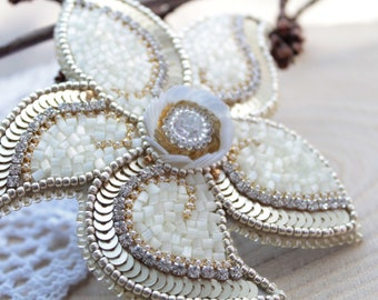 Gold flower brooch Bead embroidery brooch Bead work brooch Beaded embroidery flower brooch Seed bead embroidery brooch Brooch for coat