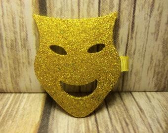 Gold Mardi Gras Mask Clip, Drama Mask Clip