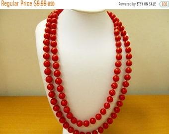 ON SALE 2 Red Burnt Orange Plastic Beaded Necklaces Item K # 1019