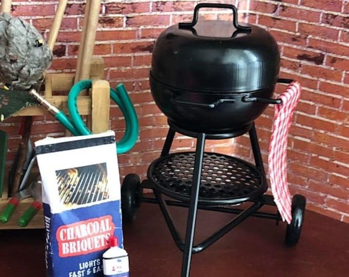Featured listing image: SALE Miniature Grill, Mini Round Black Grill, Dollhouse Miniature, 1:12 Scale,. Dollhouse Grill, Accessory, Yard & Garden Decor, Topper