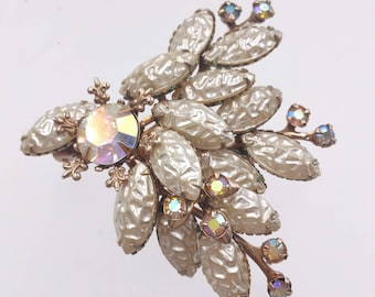 Vintage Frosted Glass Spray Brooch with Aurora Borealis Rhinestones and Molded Art Glass Stones, Riveted Swedge Construction Pearly Sheen