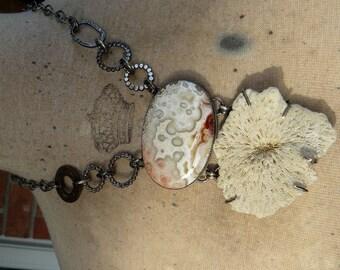 Sunburst - Crazy Lace Agate Sponge Coral Pendant Necklace Sterling Silver Antique Coin statement Original modern unique edgy summer beach