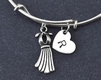 Dress Bangle, Sterling Silver Bangle, Dress Bracelet, Bridesmaid Gift, Personalized Bracelet, Charm Bangle, Initial Bracelet, Monogram