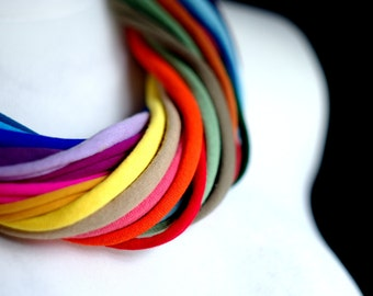 Upcycled HYBRIO scarf-necklace/Recycled rainbow/Woman's/Handmade colorful/Repurposed material/Soft/Eco friendly/Jersey stripes