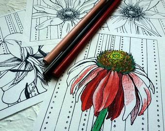 Flower Coloring Page #3 by Tempest Studios, Printable Adult Kids Mini Set