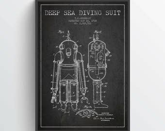 1935 Deep See Diving Suit Patent Poster, Diving Suit print, Diving Suit Poster, Patent Art Print, Patent Print, Home Decor, Gift Idea, NA33P