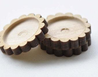 10 pcs Flower Edge Wooden Pendant Tray Bezel Setting Blanks Match 20mm Cabochon A8664